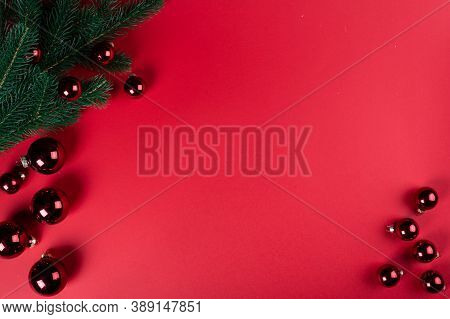 Christmas Composition. Christmas Decorations, Fir Tree Decortions. Top View, Copy Space. Christmas F