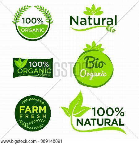 Organic Healthy Food Labels, Nature Farmed Food Tags. Vector Design Elements Image Gluten Free And B