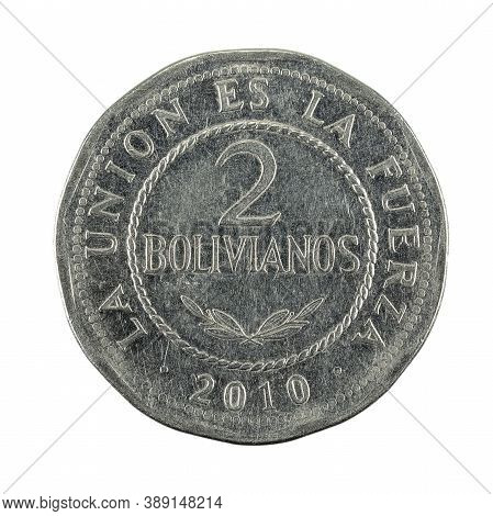2 Bolivian Boliviano Coin (2010) Obverse Isolated On White Background