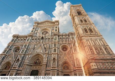 Florence Cathedral, Duomo Of Santa Maria Del Fiore And Bell Tower Of Giotto (campanile). Unesco Worl