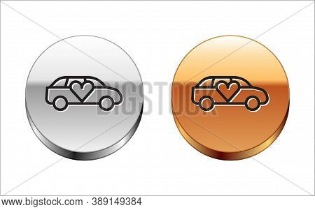Black Line Luxury Limousine Car Icon Isolated On White Background. For World Premiere Celebrities An