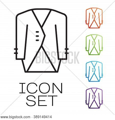 Black Line Suit Icon Isolated On White Background. Tuxedo. Wedding Suits With Necktie. Set Icons Col