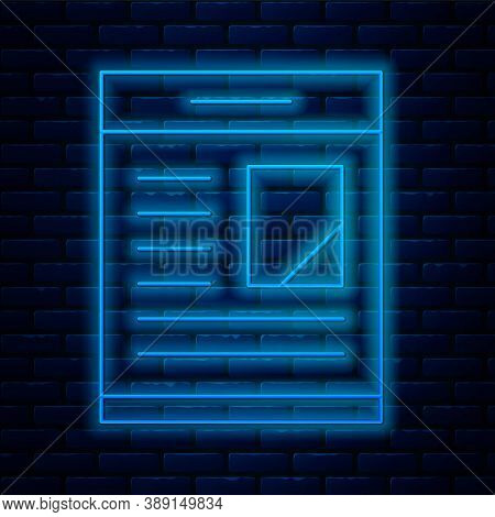 Glowing Neon Line Newspaper Advertisement Displaying Obituaries Icon Isolated On Brick Wall Backgrou