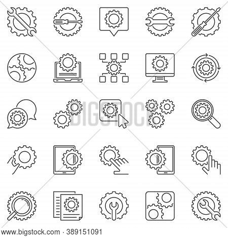 Settings Outline Icons Set. Vector Cog Wheel And Gear Line Signs. Maintenance Or Setup Concept Symbo