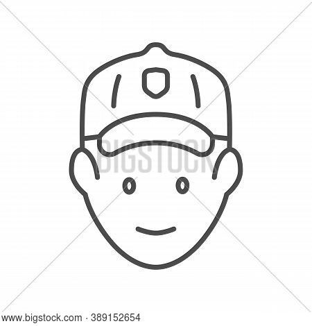 Golfer Head Thin Line Icon, Outdoor Sports And Recreation Concept, Golf Player Avatar Sign On White