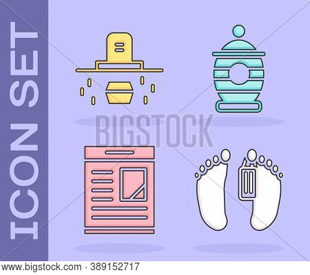 Set Dead Body, Grave With Coffin, Obituaries And Funeral Urn Icon. Vector