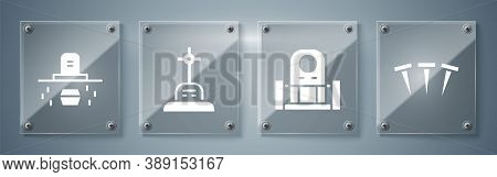 Set Metallic Nails, Grave With Tombstone, Grave With Cross And Grave With Coffin. Square Glass Panel