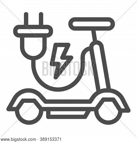 Electric Scooter Line Icon, Public Transport Concept, Eco Alternative Transport Sign On White Backgr