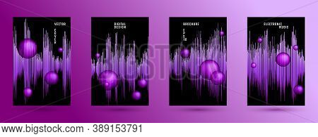 Music Banners Set With Sound Wave Background.  Abstract Soundwave Amplitude.  Distorted Sound Wave E
