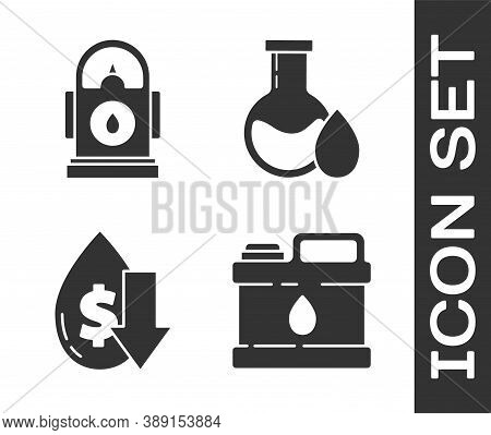 Set Canister For Motor Machine Oil, Petrol Or Gas Station, Drop In Crude Oil Price And Oil Petrol Te