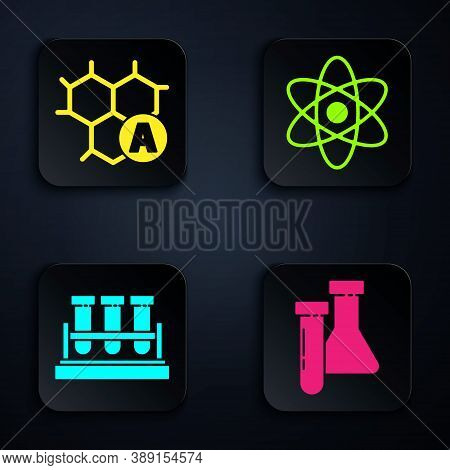 Set Test Tube And Flask Chemical, Chemical Formula, Test Tube And Flask Chemical And Atom. Black Squ
