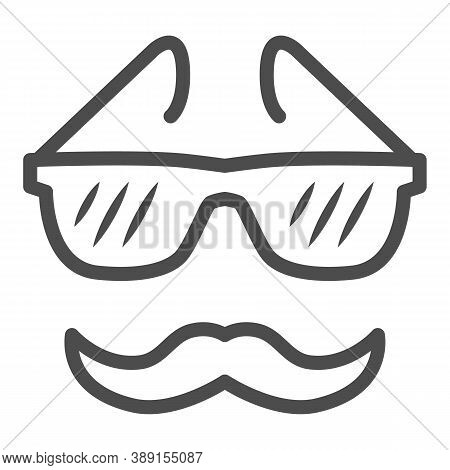 Glasses And Mustache Line Icon, Face Accessories Concept, Nerd Glasses And Mustaches Sign On White B