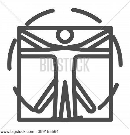 Leonardo Da Vinci Vitruvian Man Line Icon, Science Concept, Human Body In Circle And Square Sign On