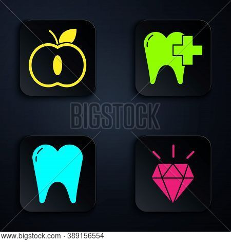 Set Diamond Teeth, Apple, Tooth And Dental Clinic For Dental Care Tooth. Black Square Button. Vector