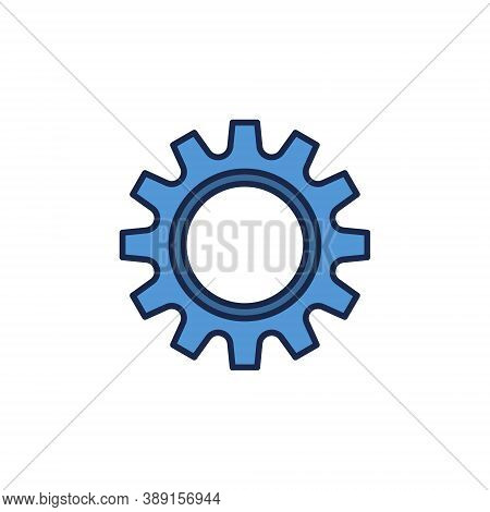 Blue Cog Wheel Vector Concept Icon Or Sign On White Background