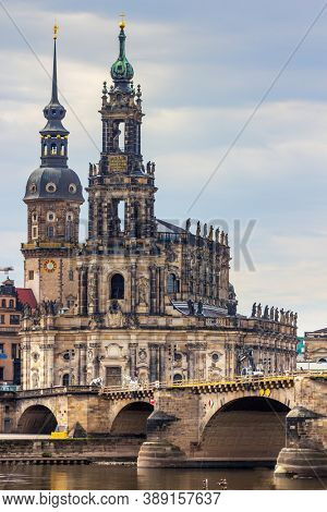 Dresden cityscape and Elbe river, Saxony, Germany