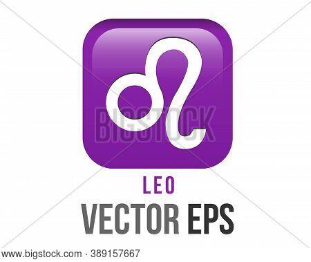 Vector Gradient Purple Leo Astrological Sign Icon In Zodiac, Represents Lion