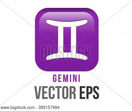 Vector Gradient Purple Gemini Astrological Sign Icon In The Zodiac, Represents Twins