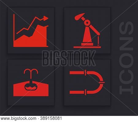 Set Industry Pipe, Oil Price Increase, Oil Pump Or Pump Jack And Oilfield Icon. Vector