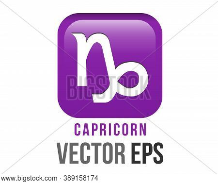 Vector Gradient Purple Capricorn Astrological Sign Icon In The Zodiac, Represents Goat