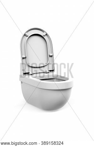 White Toilet Bowl With Open Flap Isolated On A White Background - 3d Render