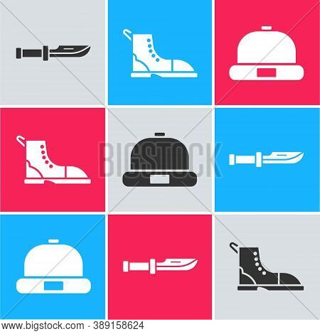 Set Camping Knife, Hiking Boot And Beanie Hat Icon. Vector