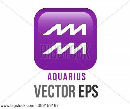 Vector Gradient Purple Aquarius Astrological Sign Icon In Zodiac,  Epresents Water Bearer