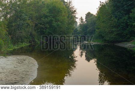 Backwater With Sandbank  On A Small Ukrainian River Vorskla At End Of Summer Season