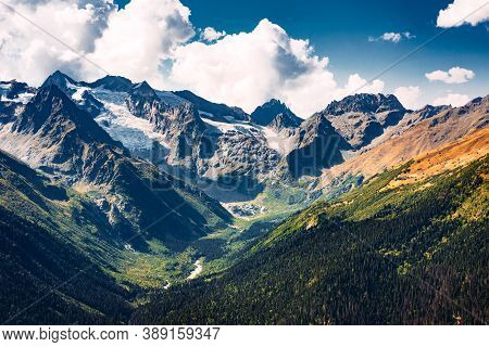 Stunning View Of The Mountain Gorge. Mountain Landscape. Beautiful View Of The Snow-capped Mountain