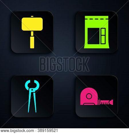 Set Roulette Construction, Sledgehammer, Pincers And Pliers And Cement Bag. Black Square Button. Vec