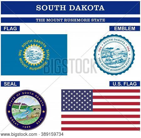 South Dakota Symbol Collection With Flag, Seal, Us Flag And Emblem As Vector.