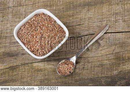 Linseed Organic Seeds - Linum Usitatissimum. Text Space
