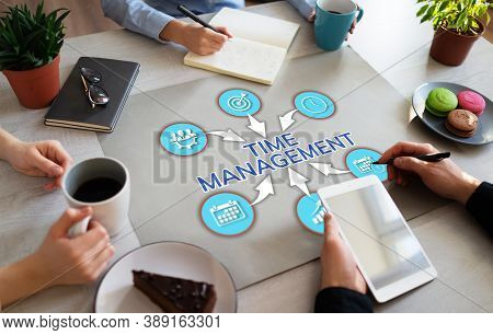 Time Management Project Planning Business Organisation Productivity Concept On Flat Lay.