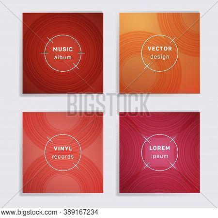 Gradient Vinyl Records Music Album Covers Set. Semicircle Curve Lines Patterns. Tech Creative Vinyl