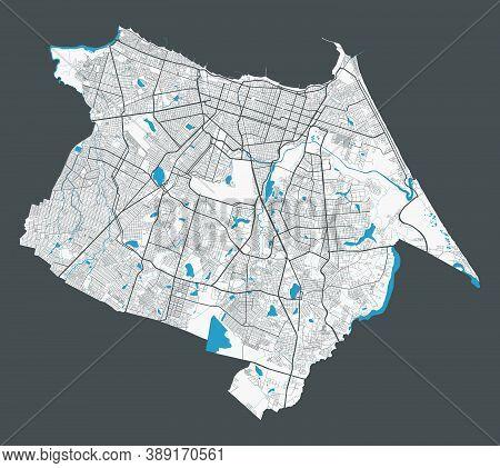 Fortaleza Map. Detailed Map Of Fortaleza City Administrative Area. Cityscape Panorama. Royalty Free