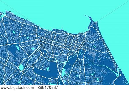Detailed Map Of Fortaleza City Administrative Area. Royalty Free Vector Illustration. Cityscape Pano
