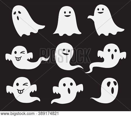 Halloween Cute Ghost Spook Horror Vector Set.
