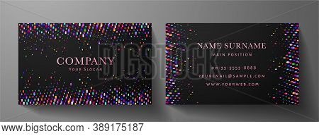 Colorful Premium Vip Card Template (gift Card Set). Deluxe Holiday Multicolored Pattern (rainbow Cir