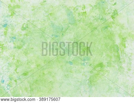 Watercolor Wash With Foil Print, Background In Green And Blue