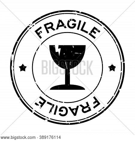 Grunge Black Fragile Word With Broken Cup Icon Round Rubber Seal Stamp On White Background