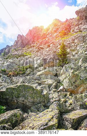 Beautiful High Rock In The Sun In The Ural Mountains