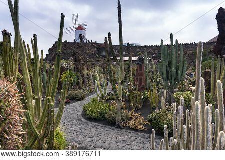 Lanzarote, Spain - August 7,2018:symbol At The Entrance Of The Famous Cactus Garden In Lanzarote Dur