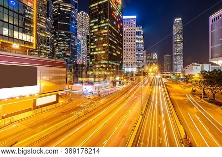 Hong Kong Cityscape at Admiralty Central Hong Kong downtown district at night.