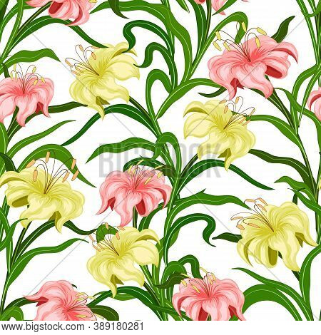 Bouquets Of Lilies In A Color Pattern.seamless Pattern Of Bouquets Of Multi-colored Lilies On A Whit