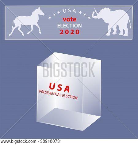 Transparent Ballot Box, The Symbols Of Democratic, Republican Party, Elephant, Donkey - Vector. Elec
