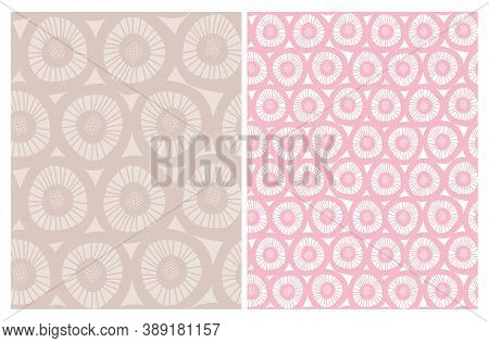 Cute Abstract Floral Seamless Vector Patterns With Hand Drawn Geometric Flowers Isolated On A Pink A