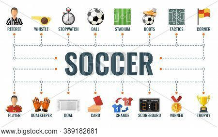 Soccer Horizontal Banner With Flat Icons Football Player, Soccer Ball, Goal, Trophy And Referee. Typ
