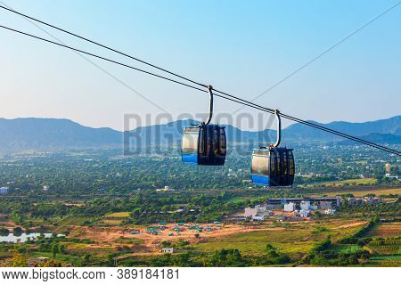 Cable Car From Pushkar Town To Savitri Mata Temple Aerial Panoramic View In Rajasthan State Of India