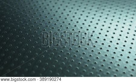 Tinted Blue Or Green Industrial Metal Background. Dark Wallpaper. Perforated Aluminum Surface With M