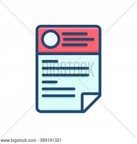 Color Illustration Icon For Cv Resume Template Paper Biography Biodata